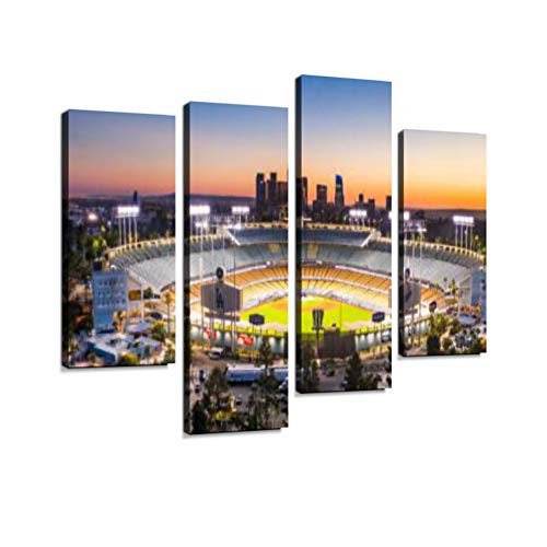 Los Angeles City Skyline with Dodger Stadium Canvas Wall Art Hanging Paintings Modern Artwork Abstract Picture Prints Home Decoration Gift Unique Designed Framed 4 Panel ()