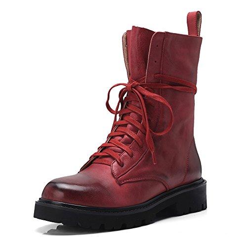 KJJDE Bottes Lacets Hiver Confort Militaire Femme Prime WSXY Q3414 Automne Boots Red Bottines rarwq6