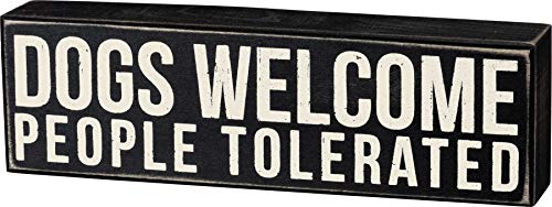 Primitives by Kathy Word Box Sign, 10x3, Dogs Welcome