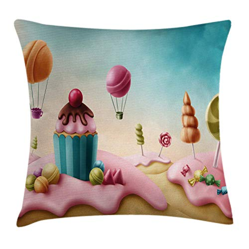 JUNN Fantasy Throw Pillow Cushion Cover, Fantasy Candyland with Cupcake Bonbon Lollipops Food Fairytale Delicious Sweets, Decorative Square Accent Pillow Case, 18 X 18 Inches, Multicolor