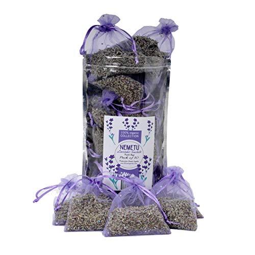 NEMETU Lavender Sachets, Home Fragrance, Car Scents, Fresh Dried Lavender Buds Filled Sachet 10 Potpourri Purple Bags