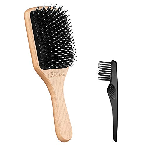 (Boar Bristle Hair Brush with Nylon Detangle Pins,Wooden Paddle Hair brush for Women Men Smoothing and Detangling Thick Curly Fine Dry Hair,Hair Brush Cleaner Included)