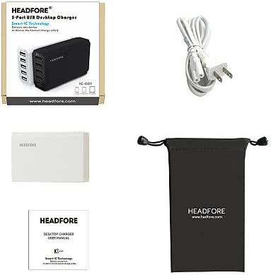 Headfore 5 USB Ports Phone Desktop Charger For Any USB Device