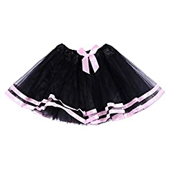 Jastore® Girls Layered Bowknot Tutu Skirt Dance Princess Ballet Dress (Black)