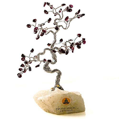 Divine Magic Crystal Tree Decor Spiritual Good Luck Gifts Garnet Natural Crystal Gemstone Tree Handmade Items Clear Negative Energy, Balances Sacral Chakra ()