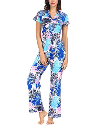 (Ink+Ivy Women Pajama Set Short Sleeve and Lounge Pants Collar Button Palm Breeze X-Large)