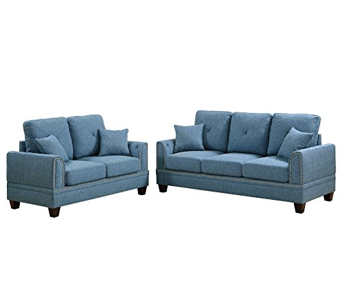 Poundex F6508 Bobkona Bailey Sofa and Loveseat, Blue