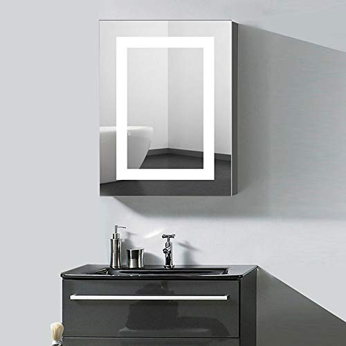 24 x 32 in. Vertical LED Lighted Mirror Cabinet Wall Mount Illuminated - Mirrors Decoraport Led Vertical Rectangle Bathroom