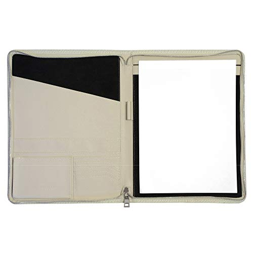 CARMEL CONCEPT Professional Padfolio with Bonus Notepad, PU Leather Portfolio Folder with Zip, Slim Holder Sleeves for Resume Interview Notebook Business Card Writing Document Storage & Tablet (Ivory)