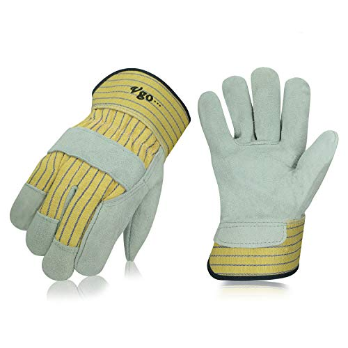 Vgo 3Pairs Cow Split Leather Men's Work Gloves with Safety Cuff (Size L,Yellow,CB3501)
