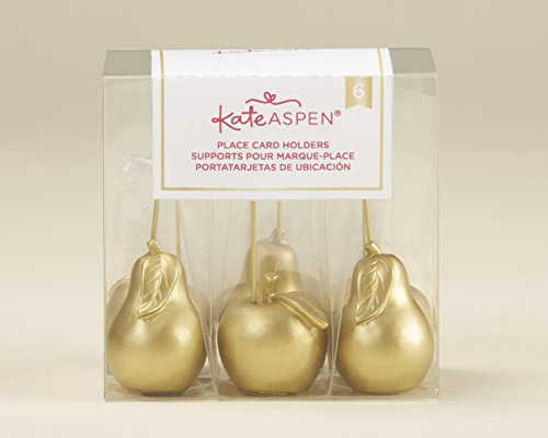 Kate Aspen, Gold Apple and Pear Place Card Holder (Set of 6), perfect forParty Favors & Party Decors, Wedding favors, Holiday Party Decor ()