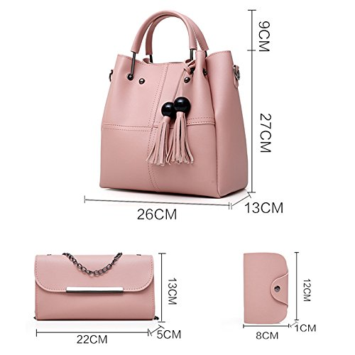 Donalworld Women Top Handle Embroidery Tassel Hard PU Leather Bag Winered by Donalworld (Image #3)
