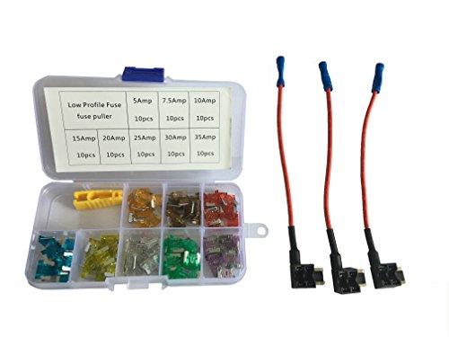 KOLACEN Automotive Car Truck Low-Profile Mini Blade Type Fuse Assorted Kit 81 Pieces + 3 Pieces 16 Gauge Add-a-Circuit Low Profile Mini Fuse TAP Adapter