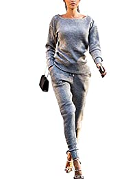 Wowforu Women's Scoop Neck Long Sleeve Pullover Sweatshirt Pants Tracksuits