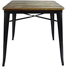 VILAVITA Square Pine Wood Dining Table, Wooden Dining Furniture, 27.56 by 27.56-inch, Retro Finish