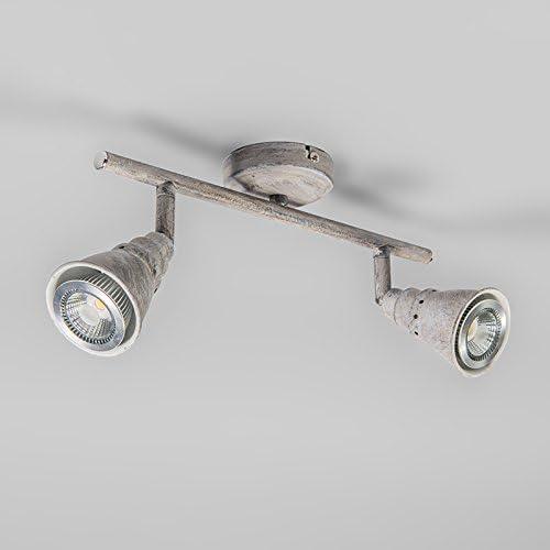 2 x 50 Watt QAZQA Retro//Vintage Techo y pared mancha giratoria e inclinaci/ón marr/ón oxidado Coney 2 Met/álica Alargada Adecuado para LED Max
