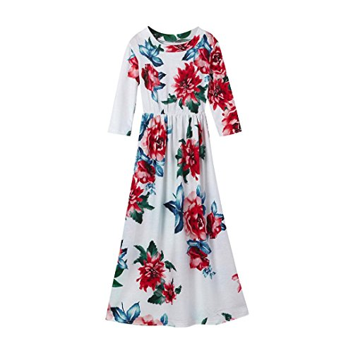 Fineser TM Little Girls Floral Print Long Sleeve Tank Dress Casual Long Dress Stretch Maxi Dress (White, 6T)
