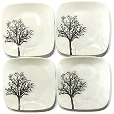 "Click for Corelle Dinnerware Dessert Plates Set, Square Timber Shadows 6.5"" perfect size for dessert, (Set of 4)"