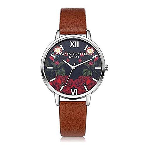 FAVOT 2019 New Women's Wrist Watch Sleek Minimalist Flower Pattern Scale Dial Comfortable Leather Strap Casual Quartz Watch Party Dress Accessories (Brown)
