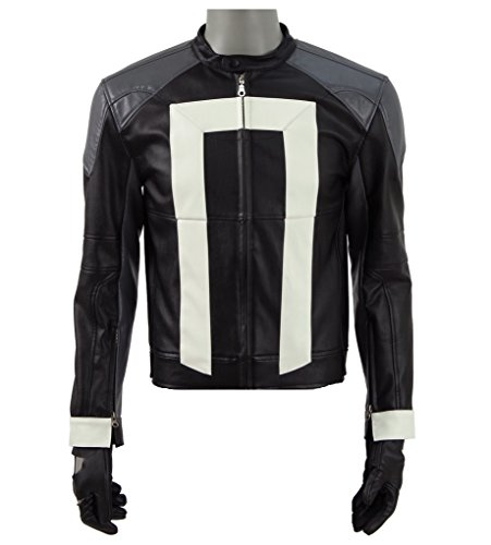 2017 Hot Sci-Fi TV Drama Rider Costume Black Faux Leather Biker Jacket with Gloves (US Men-XL, Black)