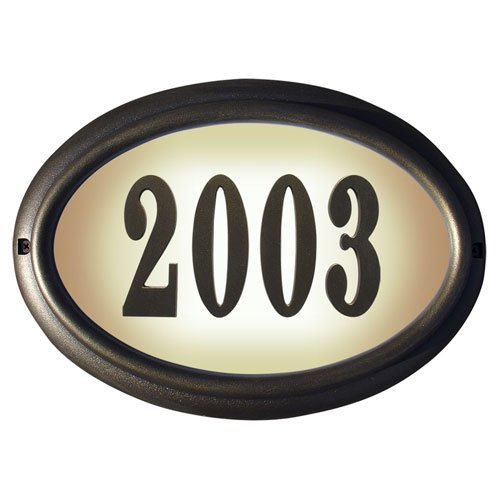 Qualarc LTO-1302FB-PN Edgewood Oval Lighted Address Plaque in French Bronze Frame Color with 4-Inch Black Polymer Numbers