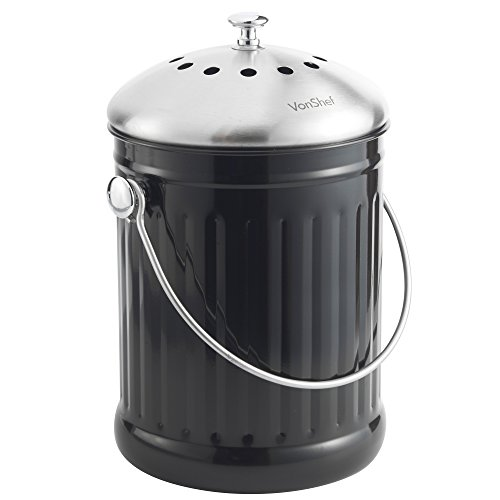 Cheapest Price! VonShef Compost Bin Stainless Steel - Includes Odor Absorbing Filter, 1.2 Gallon Cap...