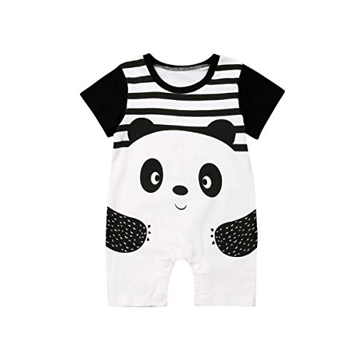 Baby Boy Girl One Piece Outfits,Cute Panda Strips Short Sleeve Romper Bodysuit Summer Clothes Sunsuit (0-6Month)
