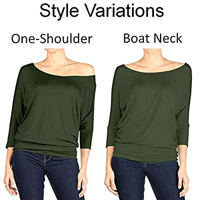 Dolman Tops for Women Sexy Off The Shoulder Tops Banded Waistband Shirts 3/4 Sleeves Regular and Plus Size Tops at Women's Clothing store