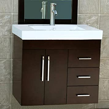 30 bathroom vanity base white with drawers wall mount solid wood cabinet ceramic vessel sink