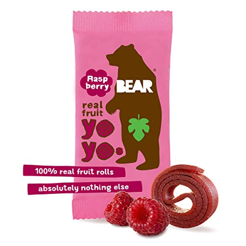 BEAR - Real Fruit Yoyos - Raspberry - 0.7 Ounce (30 Count) - No added Sugar, All Natural, non GMO, Gluten Free, Vegan - Healthy on-the-go snack for kids & adults