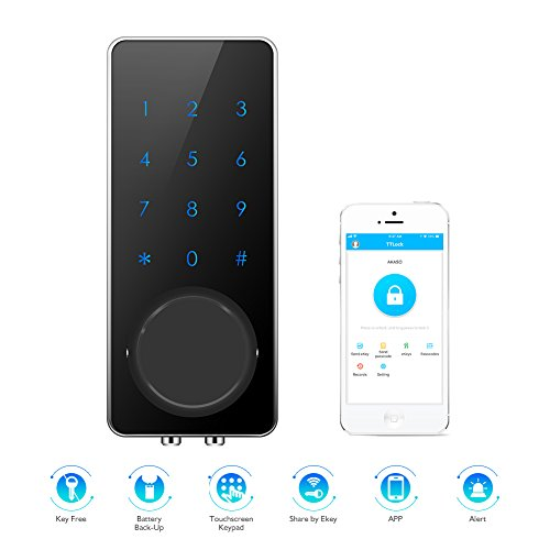 AKASO Smart Lock, Smart Electronic Door Lock APP Code Touch Screen Keypad Deadbolt Entrance Smart Electronic Digital Door Lock with Key Remote Keypad for Home Hotels Apartment (Front Access Door)