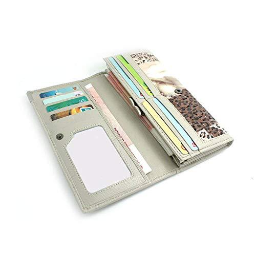 imprimé embrayage cuir en à Color à femmes long Brown pli véritable main léopard Brown sac Les fw75UXxq