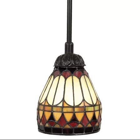- Quoizel TF1541VB Tiffany Cone Glass Mini Pendant Ceiling Lighting, 1-Light, 100 Watt, Vintage Bronze (9