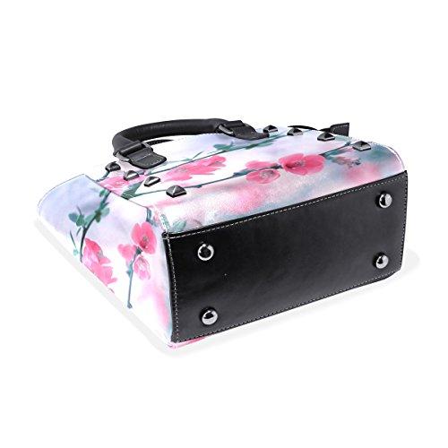 Pink Bags Handbags Tote Women's Flowers TIZORAX Pretty Leather Shoulder 1dAwUSqB