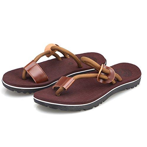 Cior Heren Handgemaakte Mode Strand Slipper Indoor En Outdoor Klassieke Flip-flop Thong Sandalen 03 Bruin