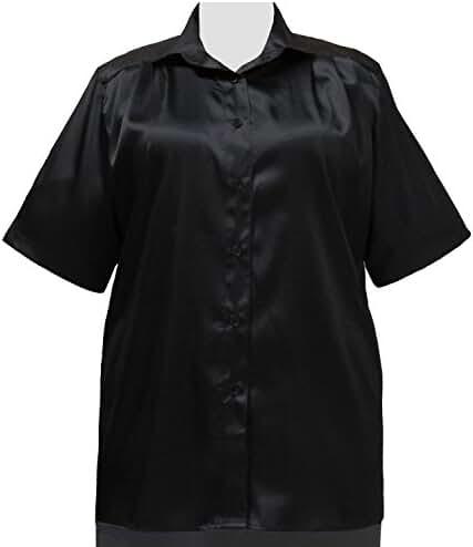 Black Crepe Back Satin Short Sleeve Tunic Plus Size Woman's Blouse