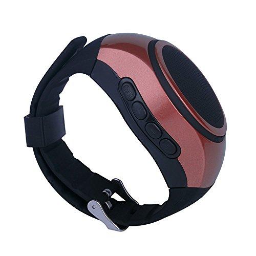 SUERSUN Speaker Watch, Wearable Speaker Mini Multifunctional Bluetooth Sports Speaker, TF Card MP3 Music Player, FM Radio, Handsfree, Selfie, Red Photo #4