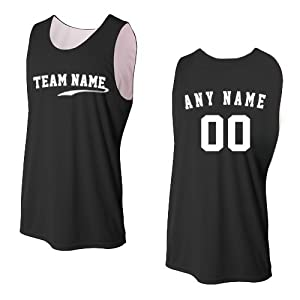 Black/White Ladies Medium CUSTOM (Front and/or Back) Reversible Sleeveless Wicking Tank Sports Jersey Top