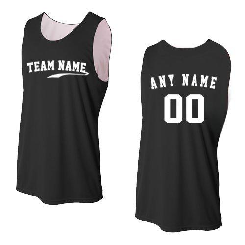 Black/White Adult Medium CUSTOM (Front and/or Back) Reversible Sleeveless Wicking Tank Sports Jersey (Custom Sleeveless)