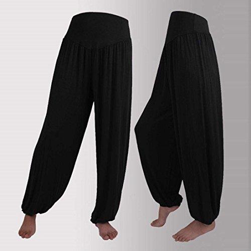 Harem Chic Pantaloni Tempo Moda Monocromo Pantaloni Abbigliamento Pantaloni Sciolto Nero Pantaloni Eleganti Accogliente High Elastico Lanterna Waist Donna Ragazza Pluderhose Di Yoga Libero Estivi w5qdatwO