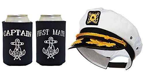 Captain Hat Yacht Cap Funny Coolie Captain and First Mate Can Coolie Bundle Navy