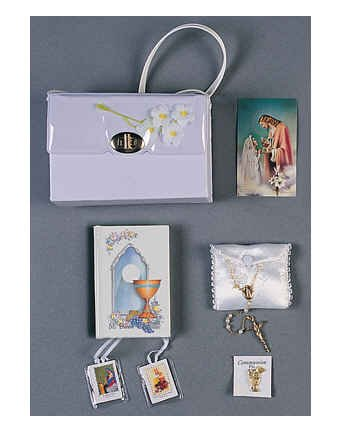 Girl's First Communion Set 6 Piece Deluxe Communion Gift Set Includes: Purse, Missal, Rosary, Satin Rosary Case, Scapular, and Pin- Boxed