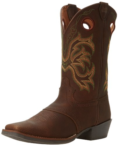 Justin Boot Stampede Western Boot ,Dark Brown Rawhide/Perfed
