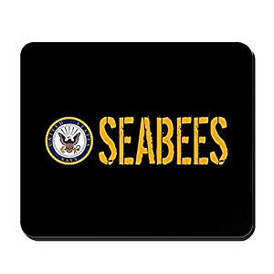 CafePress - U.S. Navy: Seabees (Black) - Non-Slip Rubber Mousepad, Gaming Mouse Pad from CafePress