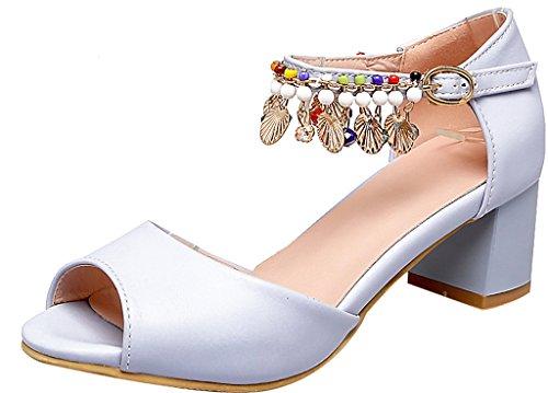 Calaier 5CM Sandalen Damen Schuhe Blau Open Blockabsatzschnalle Toe Salbq xvH7x
