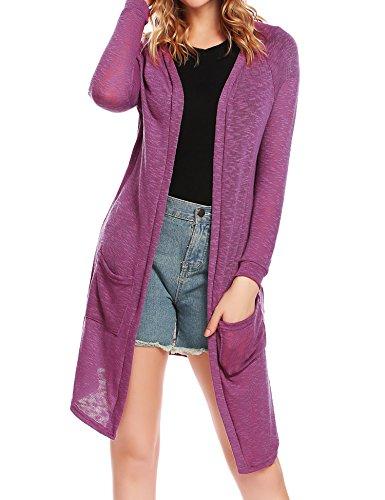ELESOL Womens Open Drape Cardigan Reg and Plus Size Cardigan Sweater Long Sleeves, Purple, Large