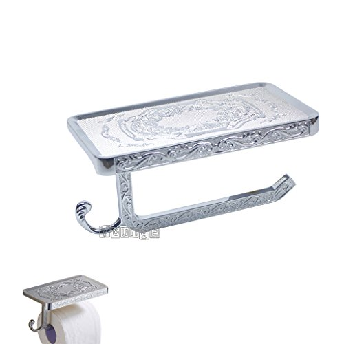 YoungE Antique Carving Toilet Paper Holder,Bathroom Paper Tissue Holder with Mobile Phone Storage Shelf (Sliver) by YoungE