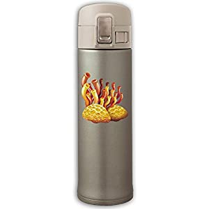 Stainless Steel Mug Coral And Stones Bouncing Cover Insulation Vacuum Cup Bottle Thermos Travel Mug Yellow