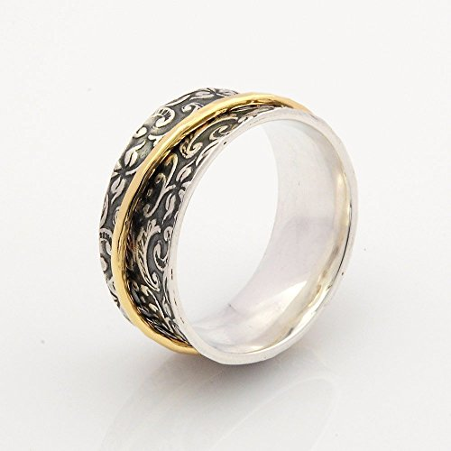 Spinner rings for women with oxidized floral base and solid 9ct Gold spinner ring size 5 to 10 - 9k Solid Ring