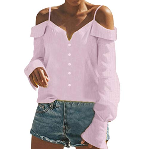 Rosa Scollo V Con Scollo V E Tumblr A Blusa Spalle Magliette Donna Felpe Scoperte Styledresser A Ampia Con Donna xqC8U8w1